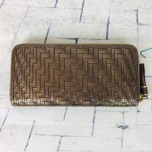Cole Haan Metallic Bronze Zip Around Wallet